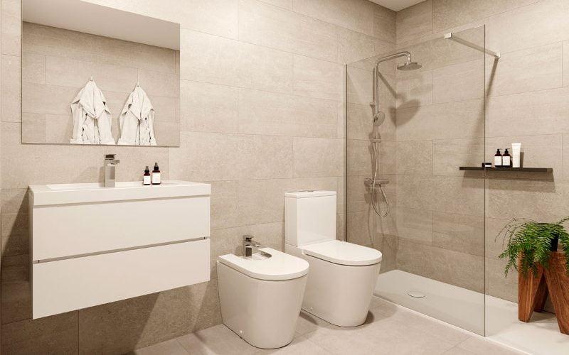Cuarto de baño con ducha, pisos A. Edificio Internacional, Av. Doctor Artero 1. Huesca