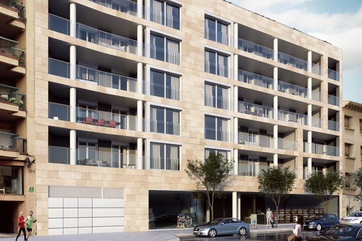 Fachada principal edificio Tribuna III, Huesca. Imagen 1